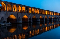 Sunset by the Si-o-Seh Bridge in Isfahan, Iran