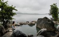 Onsen on Lake Hussharo in Akan National Park  in the eastern part of Hokkaido, Japan