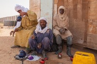 Farm workers on a tea break the Saharan desert
