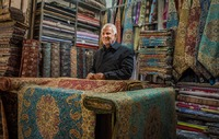Cloth Seller in Kerman Bazaar, Iran