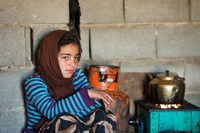 Semi-Nomadic Qashqai Girl making Tea, Iran