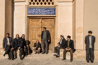 Men outside the Mosque in Nain during Friday Prayers, Iran