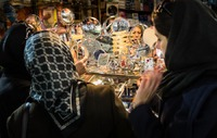 Women Shopping for Mirror in Tehran Bazaar, Iran