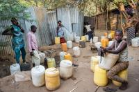 Many refugees collecting water during the drought in Kakuma refugee camp in Northwest Kenya.     