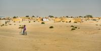 Informal refugee settlement in the dry desert area of Diffa, Niger