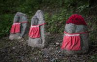 Little Jizo statues (dead children) in Kyoto, Japan