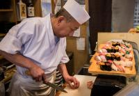 Sushi chef at work in Otaru on Hokkaido Island, Japan