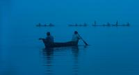Morning Fishing from Boats in Amarapura, Myanmar