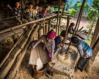 Rice Shelling in Naga Village, Myanmar