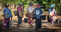 Shan Women Are Walking Home from Work, Myanmar