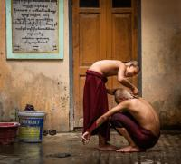 Monks Shaving in Myanmar
