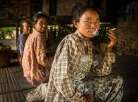 Chin Women Relaxing in a Home by the Chindwin River, Myanmar